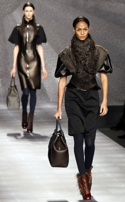 MILAN, ITALY - FEBRUARY 23: A model walks the runway at the Fendi Autumn Winter 2012 fashion show during Milan Fashion Week on February 23, 2012 in Milan, Italy. (Photo by Chris Moore/Catwalking/Getty Images)