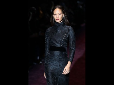 MILAN, ITALY - FEBRUARY 22:  Model Joan Smalls walks the runway at the Gucci Autumn/Winter 2012/2013 fashion show as part of Milan Womenswear Fashion
